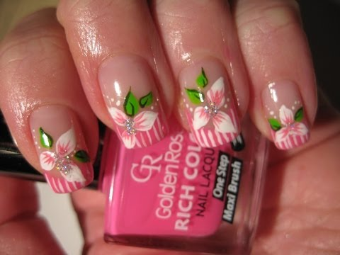 Nail art: Striped tip with flower