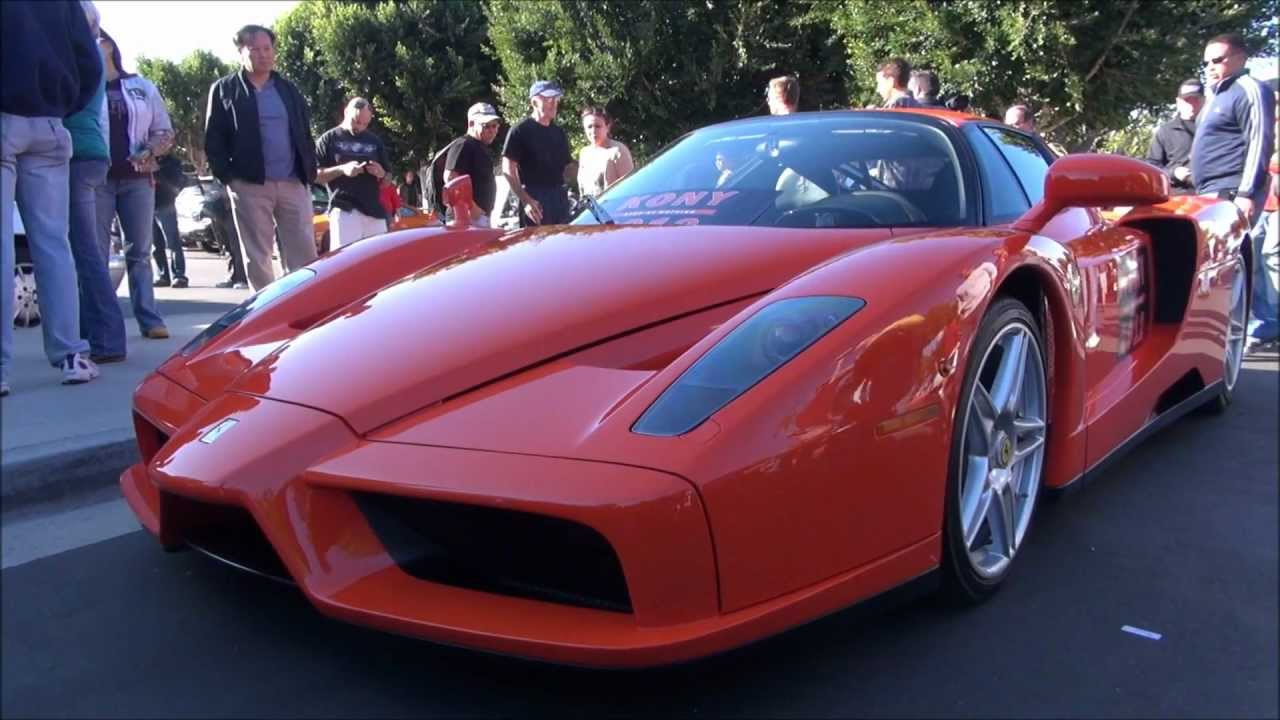 orange ferrari enzo and bugatti veyron take over cars coffee youtube. Black Bedroom Furniture Sets. Home Design Ideas