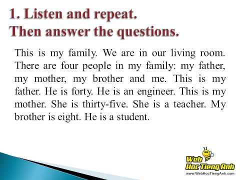 Tiếng Anh lớp 6 Bài 3 At Home - Part C Families