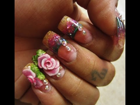 Rose Lover Glitter Acrylic Nails 3d Nail Art Nail Degins 3d Video