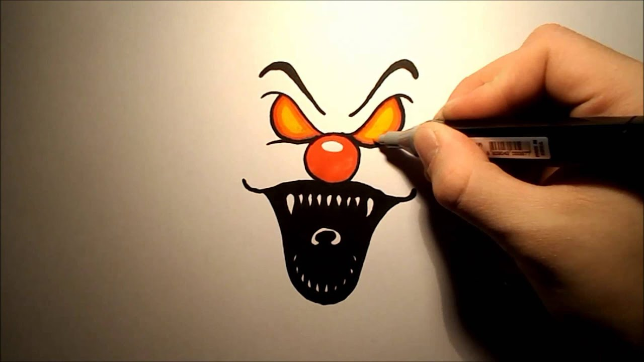 How To Draw An Evil Clown Easy Youtube