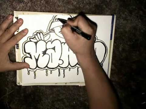 Drawing Marco Throw up and graffiti character- Mr Chino- (Sureno Bang- Instrumental)