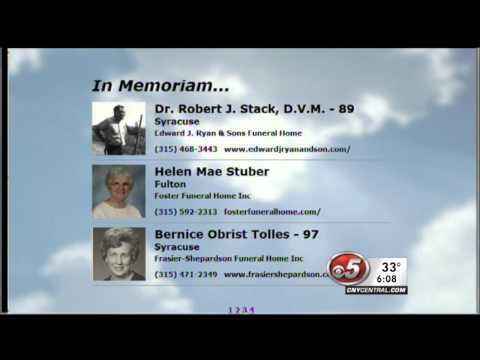 WTVH-TV Syracuse Airs Obituaries on 6pm News - 2-12-2013
