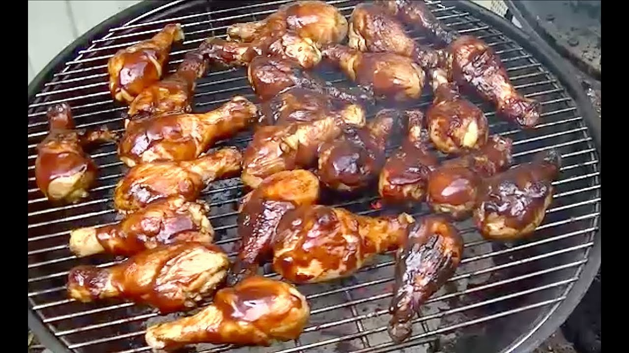 ... Charcoal Grill and Make Hickory Smoked BBQ Chicken Legs - YouTube