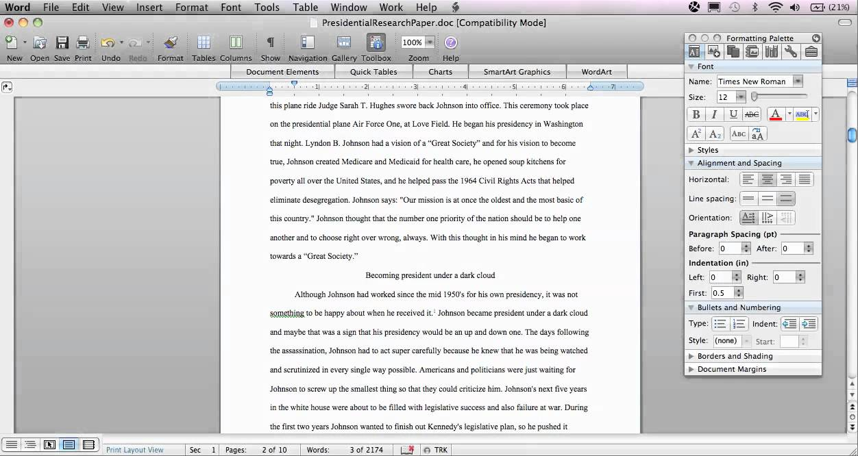 Chicago research paper format