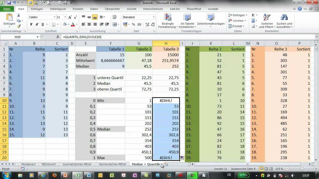 how to find 20th percentile excel
