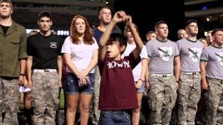 Yell Leader in training leads Aggie War Hymn