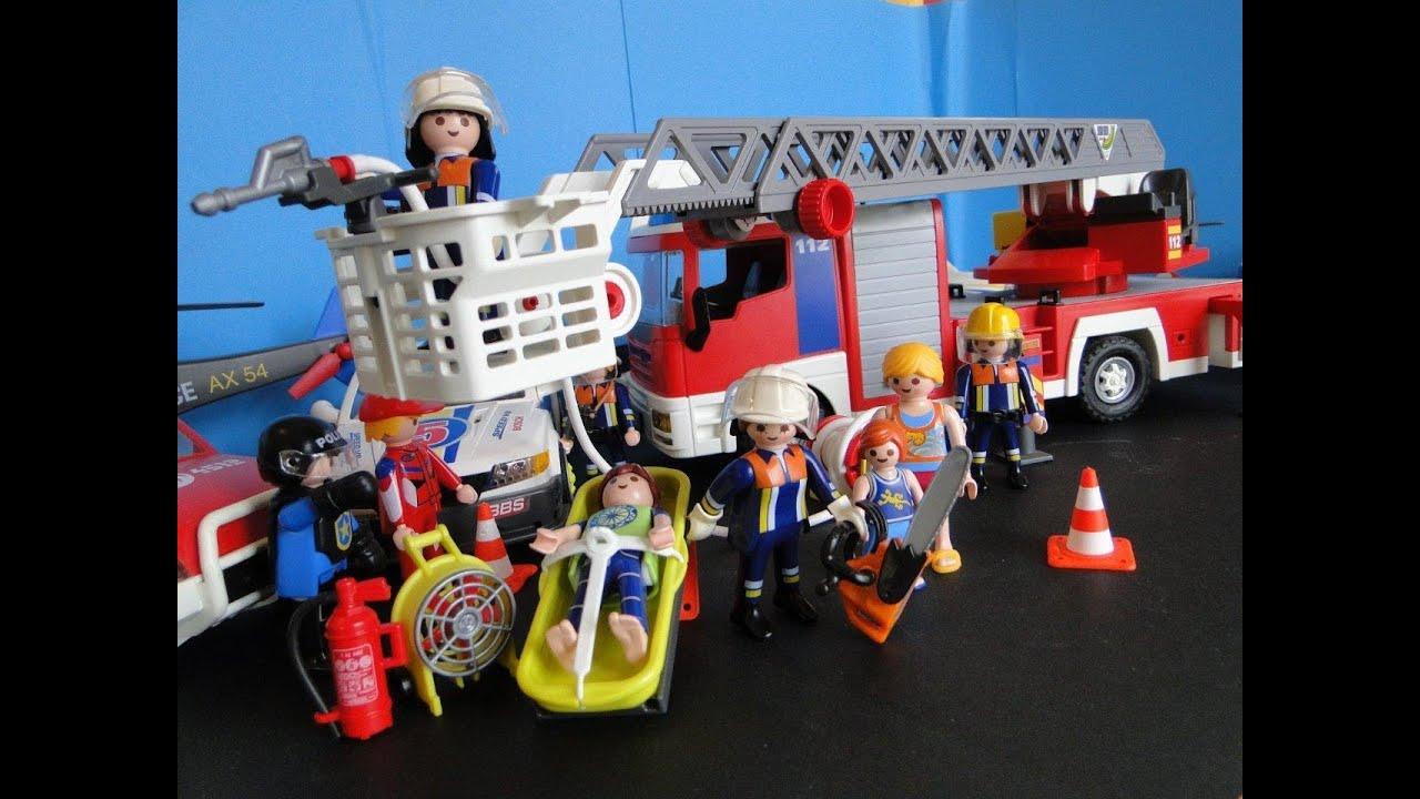 playmobil pompiers demo fireman rescue feuerwehr bomberos. Black Bedroom Furniture Sets. Home Design Ideas