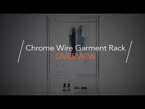 Chrome Wire Clothes Rack - 2 Shelves & 1 Rail, H1800 x W900 x D450 mm