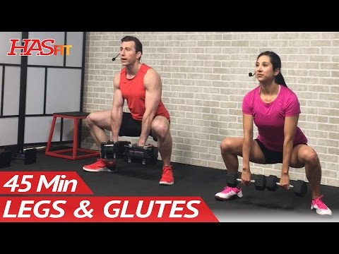 45 Min Butt and Legs Workout for Women & Men - Home Leg, Glutes, Butt and Thigh Workout w/ Dumbbells