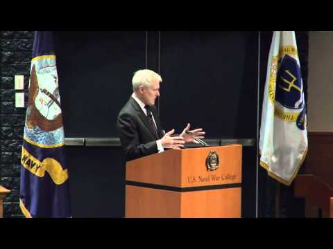 Secretary of the Navy SECNAV Ray Mabus addresses the U S  Naval War College