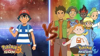 Pokemon Sun and Moon: Ash Vs Gladion Vs Brock, Tracey Sketchit, Cilan, Clemont, kiawe, Sophocles
