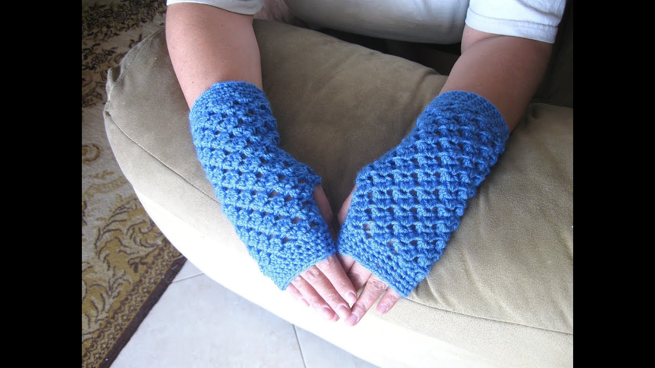 Crochet Fingerless Gloves Tutorials : Angel Stitch Fingerless Gloves - Crochet Tutorial - YouTube
