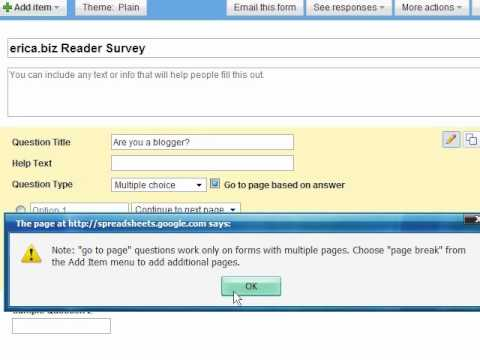 how to create online questionnaire in google docs