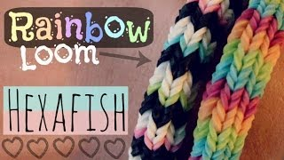 Rainbow Loom : HEXAFISH Bracelet How To 6-Pin Fishtail