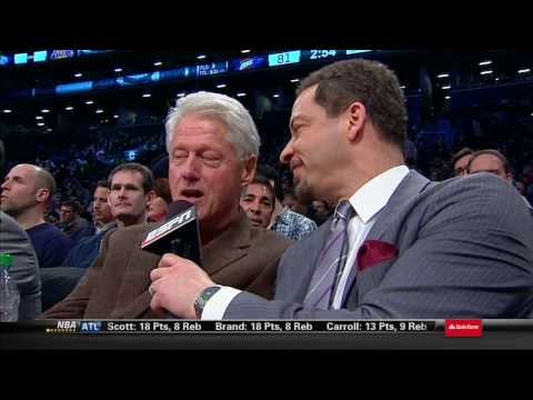 Bill Clinton Interview at Nets vs Thunder Game