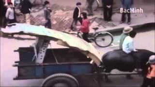 Xe trâu chở xác máy bay trên đường phố Hà Nội