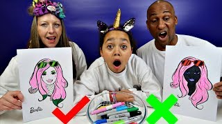 3 MARKER CHALLENGE With Barbie - MUM VS DAD Edition