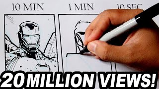 DRAWING IRON MAN in 10 MINUTES, 1 MINUTE & 10 SECONDS!