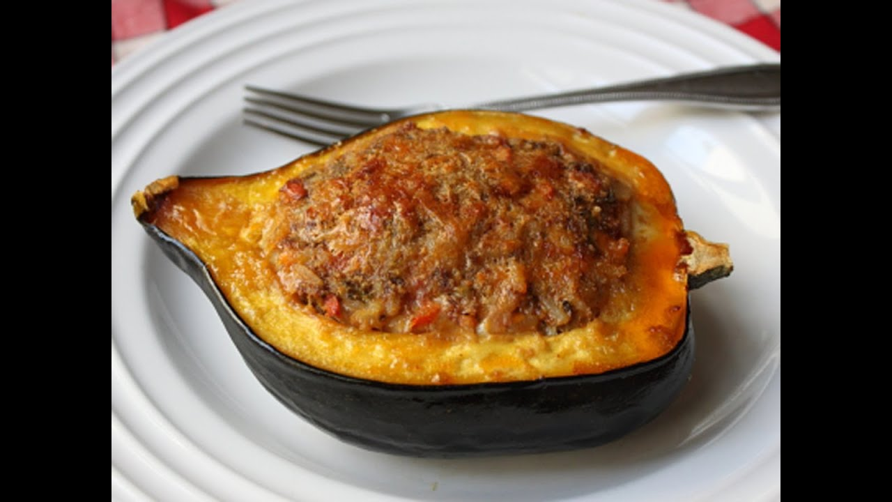 ... & Rice Stuffed Acorn Squash Recipe - Squash Stuffed with Lamb