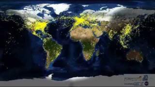 Tráfego aéreo mundial durante 24 horas