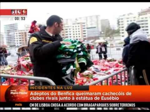 Benfiquistas queimaram cachecóis do Sporting colocados em homenagem a Eusébio - SIC N (08-01-2014)
