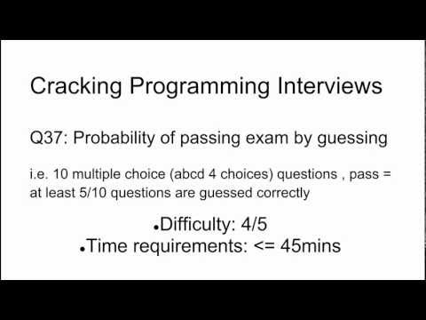 Programming Interview 37: Probability of passing exam by guessing