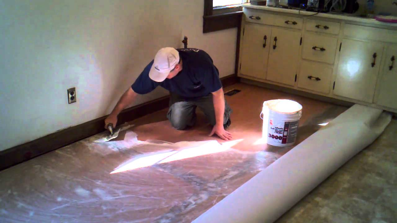 How To Cut In And Install A Vinyl Floor Youtube