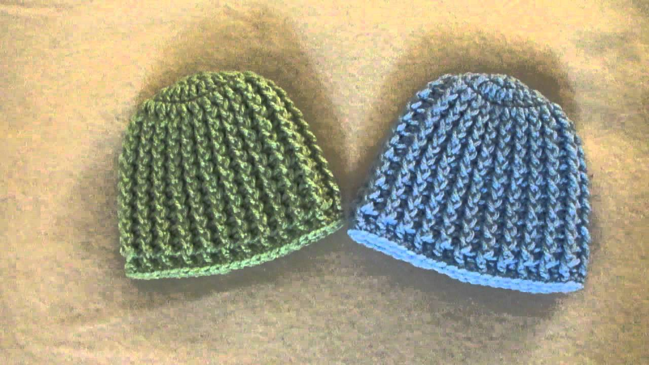 Crochet Ribbed Hat : Crochet Ribbed Baby Beanie/Hat - YouTube