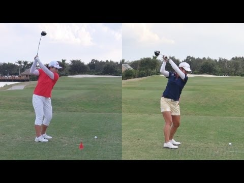INBEE PARK vs AI MIYAZATO - DRIVER GOLF SWING DOWN THE LINE & SLOW MOTION - 1080p HD
