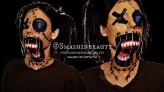 Creepy Scary Voodoo Doll Makeup Halloween Makeup Tutorial