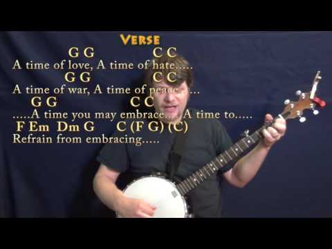 Turn! Turn! Turn! (The Byrds) Banjo Cover Lesson in C with Chords/Lyrics
