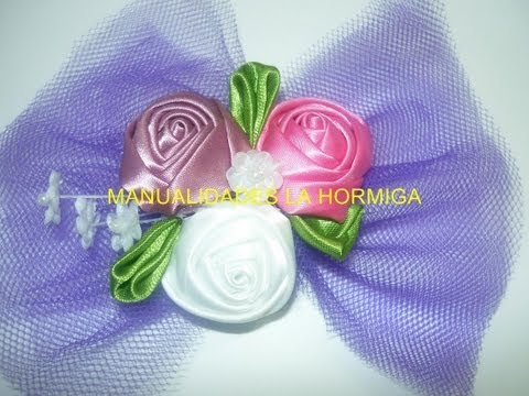flor kanzashi  pequeña para decorar centro de mops- video  128 Manualidades la Hormiga