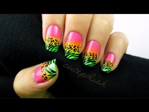 Wild Neon Animal Print Nail Art,
