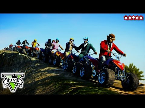 GTA 5 Online QUAD BIKE Stunts & Jumps | GTA 5 Epic Canyon Jump Gameplay