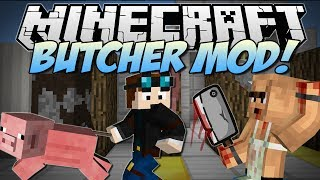 Minecraft | BUTCHER! (Meat Hooks, Cleavers, Barbecues & More!) | Mod Showcase