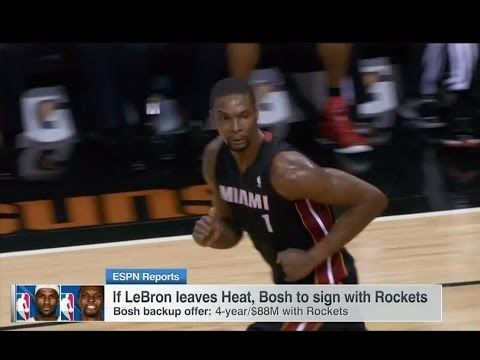July 09, 2014 - ESPN - Chris Bosh says he will sign with the Rockets if LeBron Leaves Miami Heat