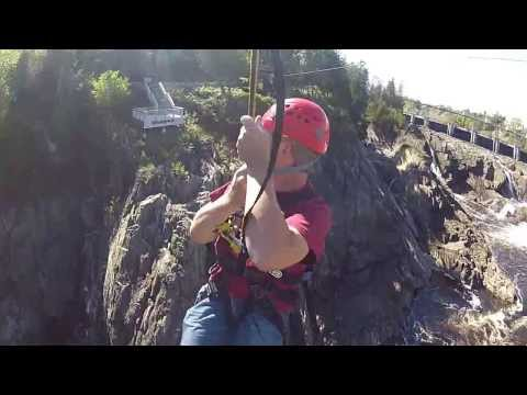 Ziplining at Grand Falls, New Brunswick