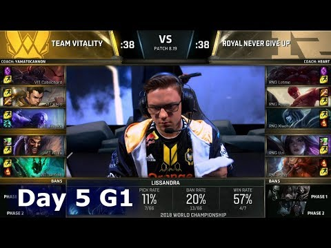 VIT vs RNG | Day 5 Group Stage S8 LoL Worlds 2018 | Vitality vs Royal Never Give Up