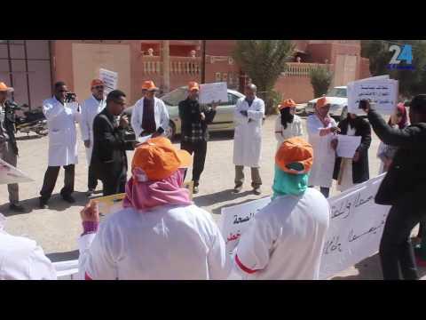 """""""فيديو"""" الهجوم على المركز الصحي عمراوي ابراهيم بتنجداد يخرج شغيلة القطاع للاحتجاج"""