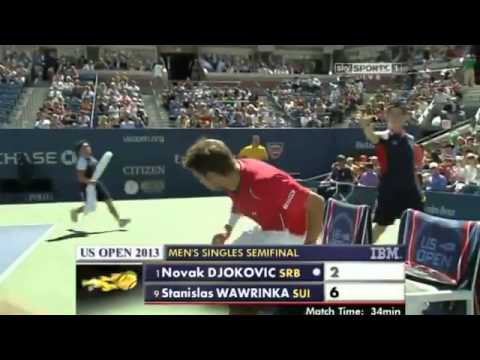 Wawrinka Wins First Set Point  Novak Djokovic vs Stanislas Wawrinka US Open 2013 SF)