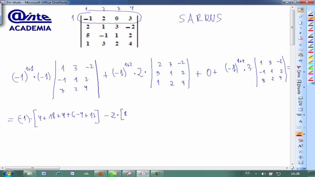 desarrollar determinante 4x4 sarrus matematicas 2. Black Bedroom Furniture Sets. Home Design Ideas