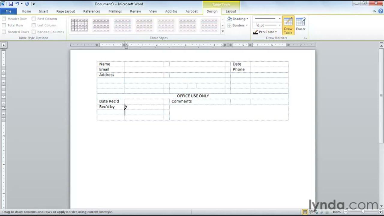 Microsoft Word: Creating professional-looking forms   lynda.com ...