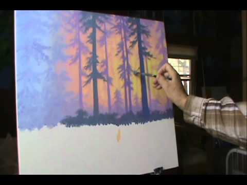 Jak malować 8 las o zachodzie słońca z akryl na płótnie