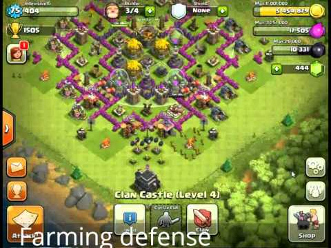 Clash of Clans Level 9 town hall farming defense - YouTube