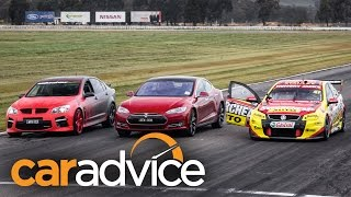 Tesla Drag Race Vs. Holden V8 In Battle Of The Sedans!