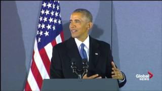 Outgoing President Obama speaks to supporters one final time