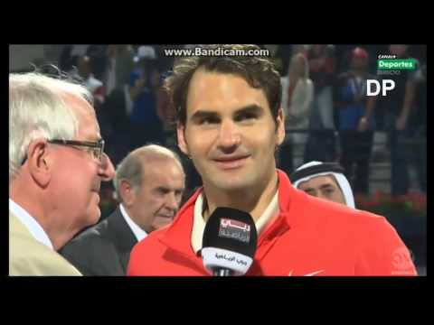 Roger Federer Speech after Winning in Final Dubai 2014