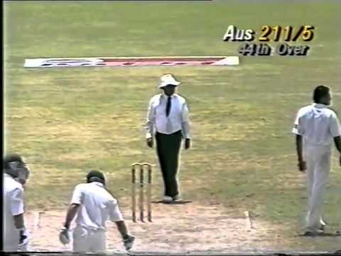 RARE ANIL KUMBLE gets hammered for 3 sixes from JUSTIN LANGER   1993   94 3