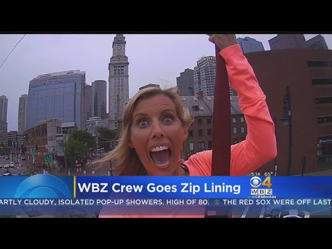 WBZ This Morning Team Tries Out Greenway Zipline